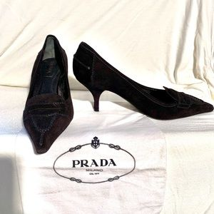 Prada suede pointed toe heeled loafer